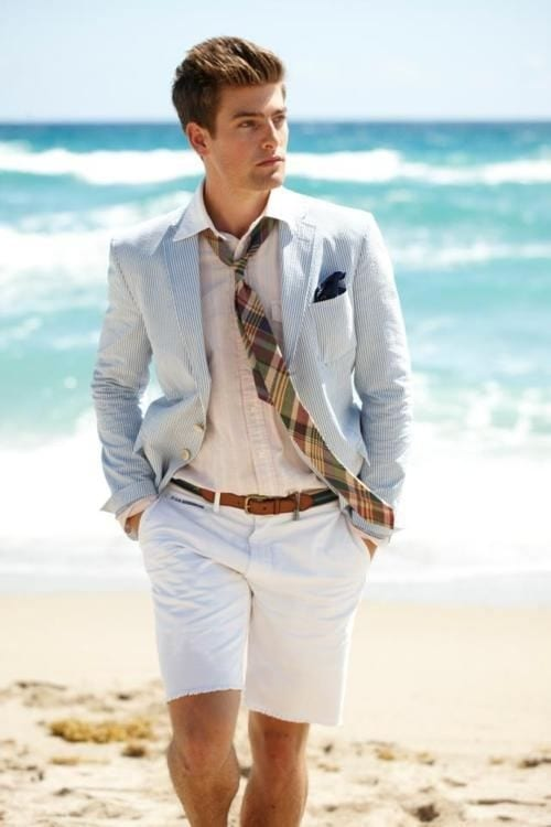 groom suit beach wedding