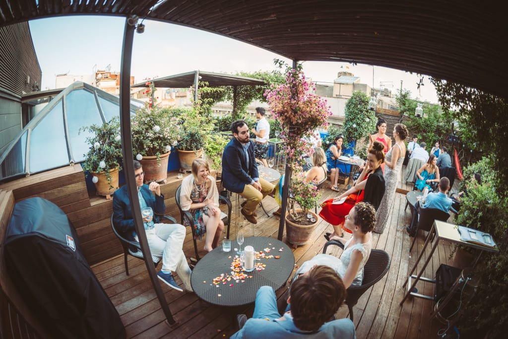wedding on a roof top terrace barcelona