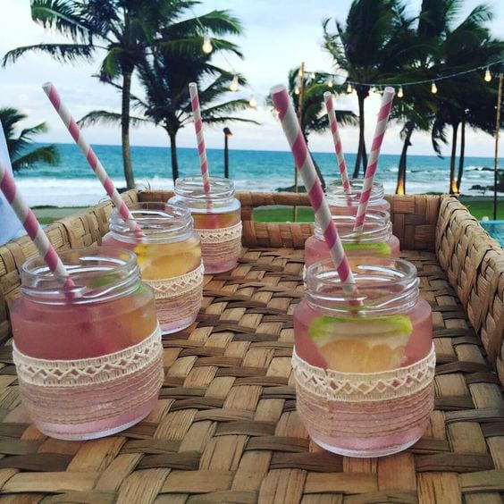 pink welcome drink in jaw